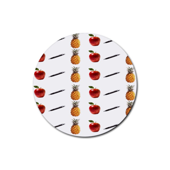 Ppap Pen Pineapple Apple Pen Rubber Coaster (Round)