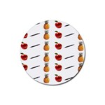 Ppap Pen Pineapple Apple Pen Rubber Round Coaster (4 pack)  Front