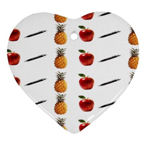 Ppap Pen Pineapple Apple Pen Heart Ornament (2 Sides)