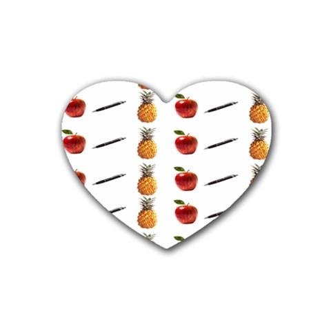 Ppap Pen Pineapple Apple Pen Rubber Coaster (Heart)