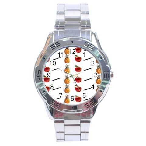 Ppap Pen Pineapple Apple Pen Stainless Steel Analogue Watch