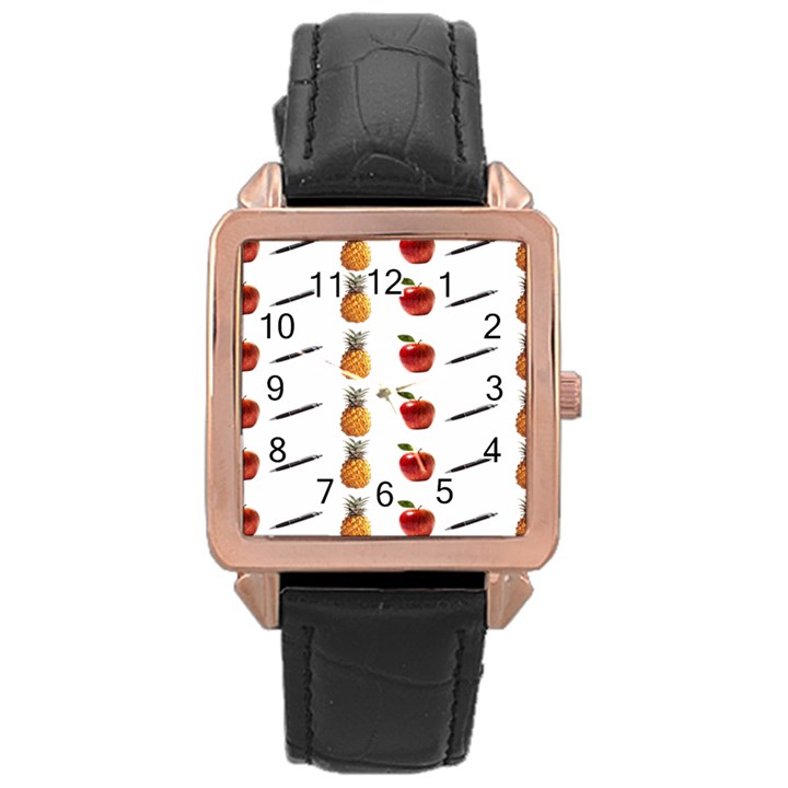 Ppap Pen Pineapple Apple Pen Rose Gold Leather Watch