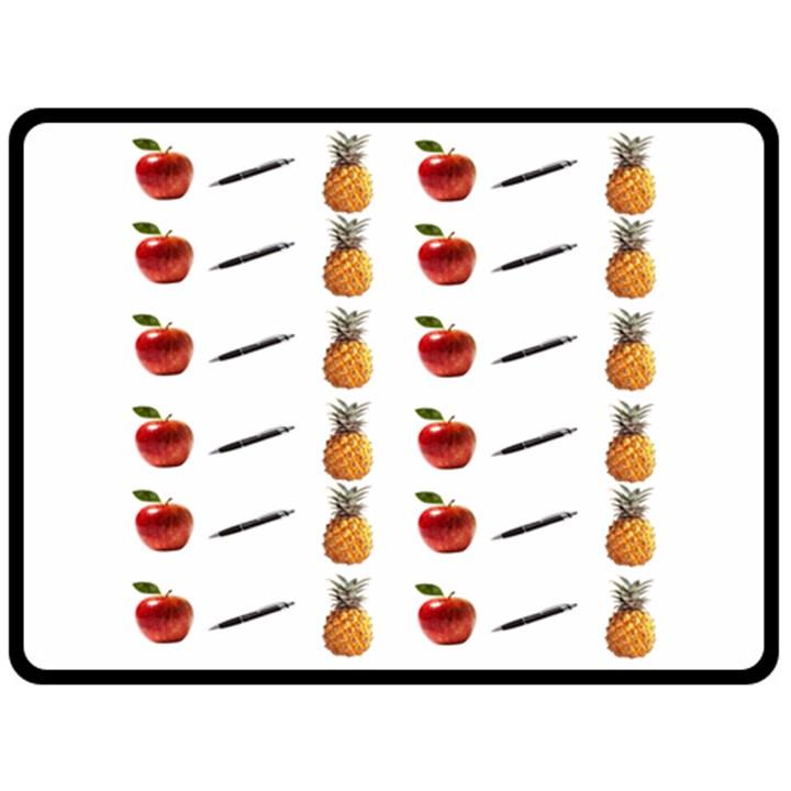 Ppap Pen Pineapple Apple Pen Double Sided Fleece Blanket (Large)