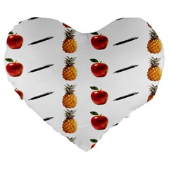 Ppap Pen Pineapple Apple Pen Large 19  Premium Flano Heart Shape Cushions