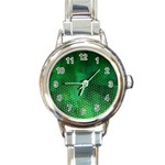 Ombre Green Abstract Forest Round Italian Charm Watch Front