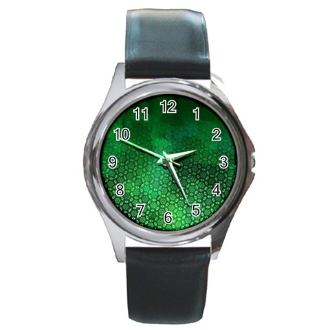 Ombre Green Abstract Forest Round Metal Watch