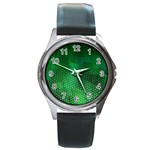 Ombre Green Abstract Forest Round Metal Watch Front