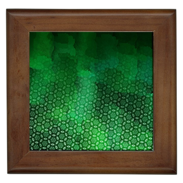 Ombre Green Abstract Forest Framed Tiles