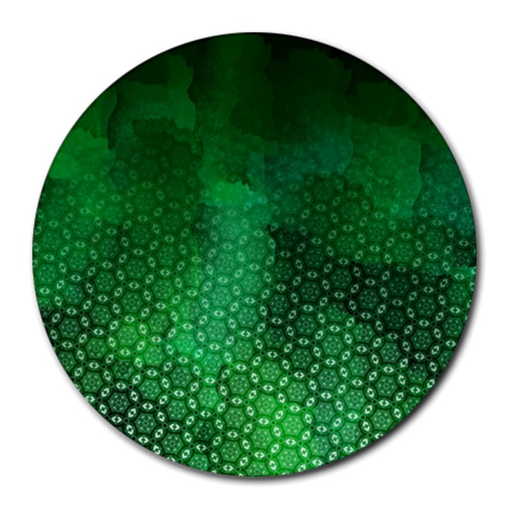 Ombre Green Abstract Forest Round Mousepads
