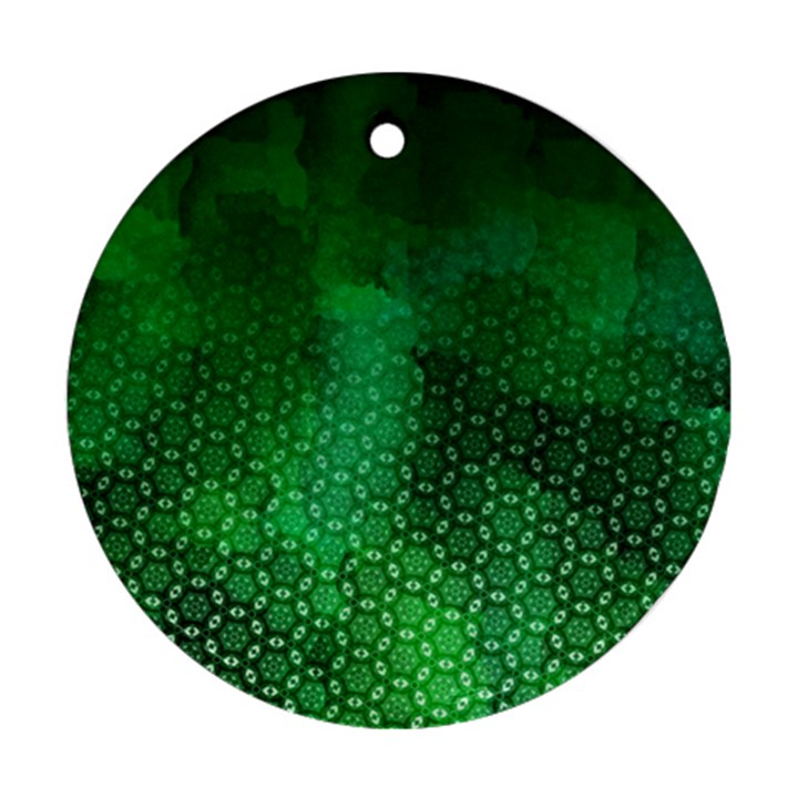 Ombre Green Abstract Forest Ornament (Round)