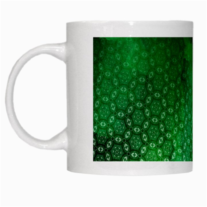 Ombre Green Abstract Forest White Mugs