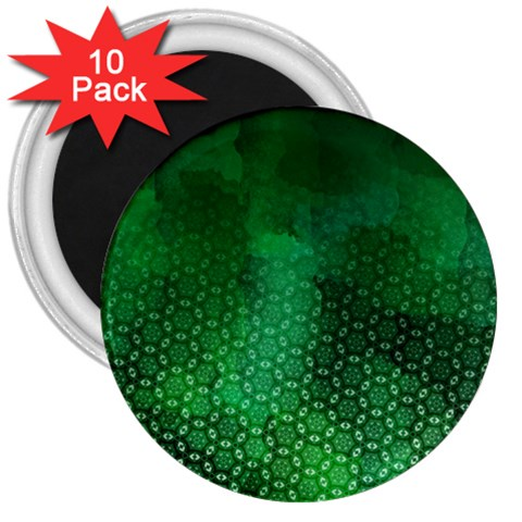 Ombre Green Abstract Forest 3  Magnets (10 pack)