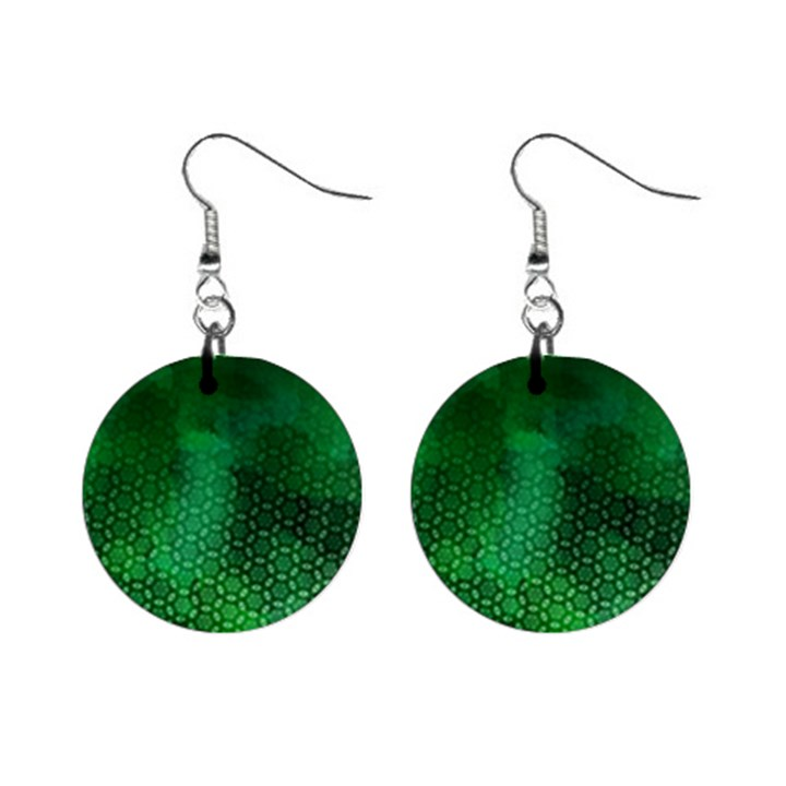 Ombre Green Abstract Forest Mini Button Earrings