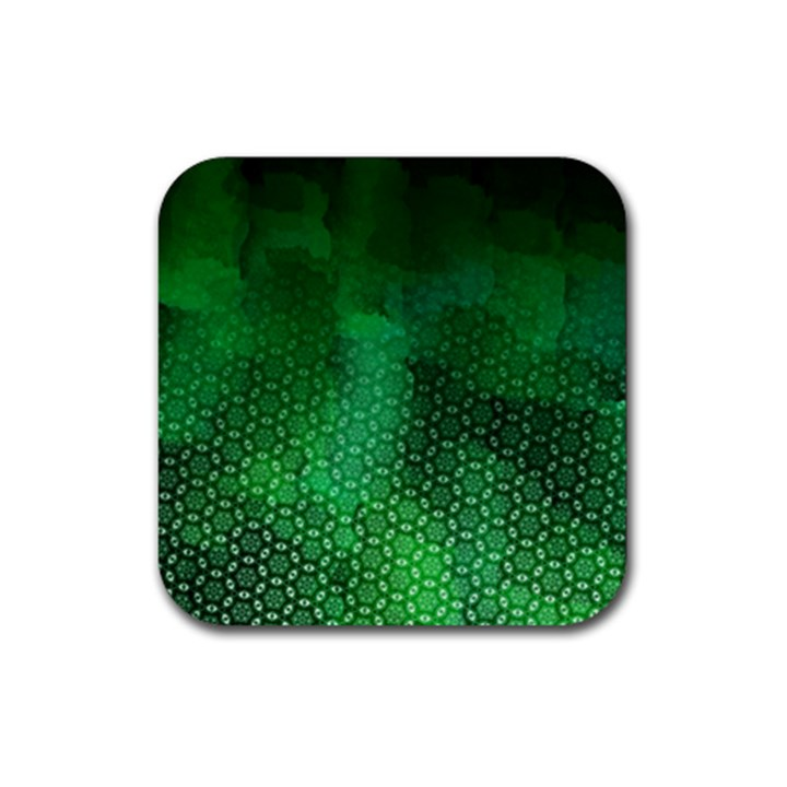 Ombre Green Abstract Forest Rubber Coaster (Square)