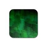 Ombre Green Abstract Forest Rubber Square Coaster (4 pack)  Front