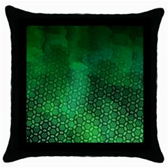 Ombre Green Abstract Forest Throw Pillow Case (black)