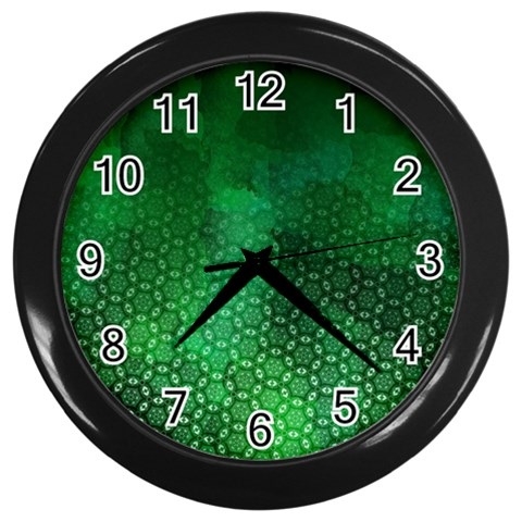 Ombre Green Abstract Forest Wall Clocks (Black)