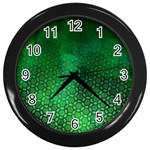 Ombre Green Abstract Forest Wall Clocks (Black) Front
