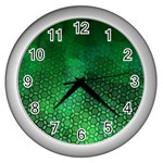 Ombre Green Abstract Forest Wall Clocks (Silver)  Front