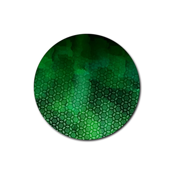 Ombre Green Abstract Forest Rubber Coaster (Round)
