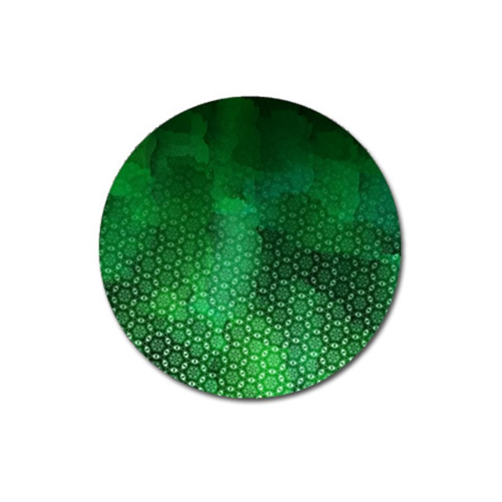 Ombre Green Abstract Forest Magnet 3  (Round)