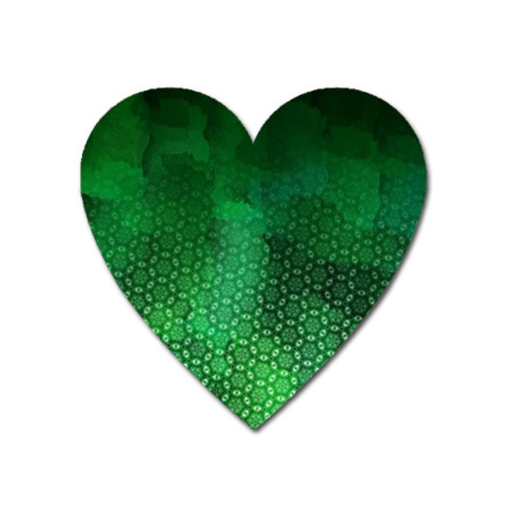 Ombre Green Abstract Forest Heart Magnet