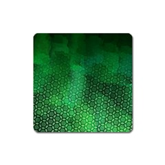 Ombre Green Abstract Forest Square Magnet