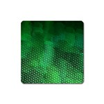Ombre Green Abstract Forest Square Magnet Front