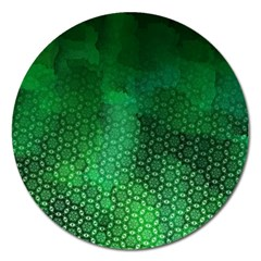 Ombre Green Abstract Forest Magnet 5  (Round)
