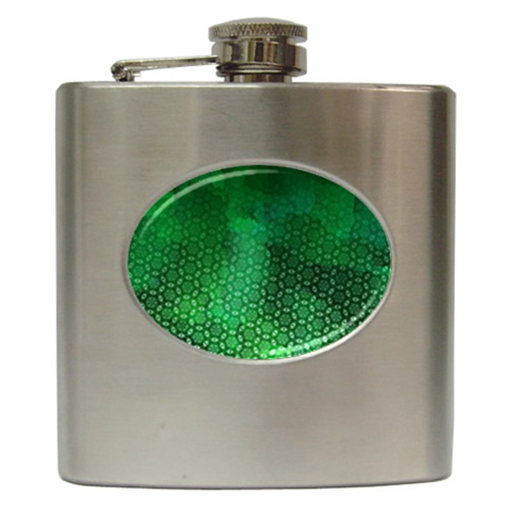 Ombre Green Abstract Forest Hip Flask (6 oz)