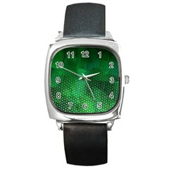 Ombre Green Abstract Forest Square Metal Watch