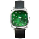 Ombre Green Abstract Forest Square Metal Watch Front