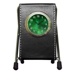 Ombre Green Abstract Forest Pen Holder Desk Clocks