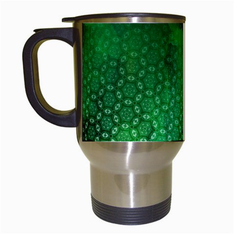 Ombre Green Abstract Forest Travel Mugs (White)
