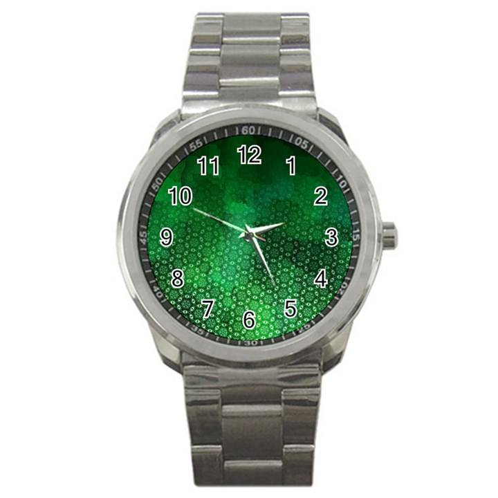 Ombre Green Abstract Forest Sport Metal Watch