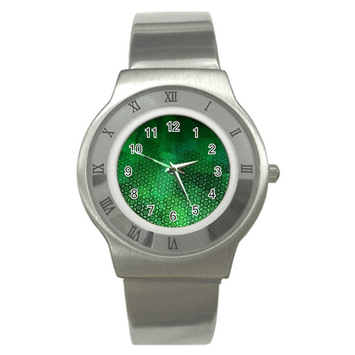 Ombre Green Abstract Forest Stainless Steel Watch