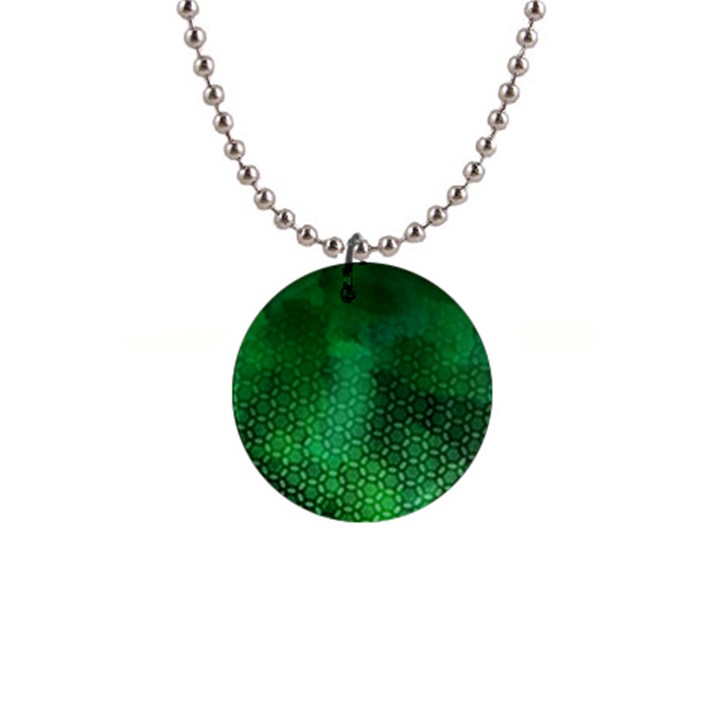 Ombre Green Abstract Forest Button Necklaces