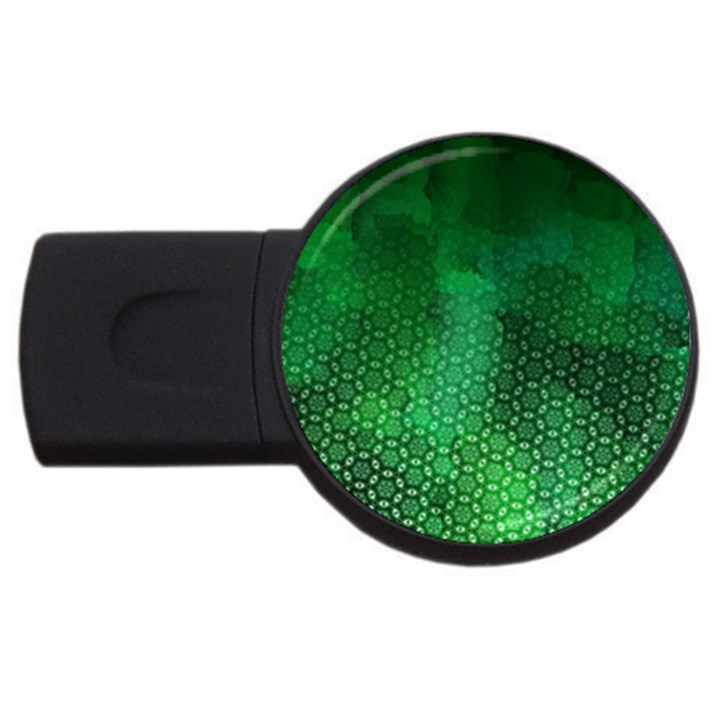 Ombre Green Abstract Forest USB Flash Drive Round (4 GB)