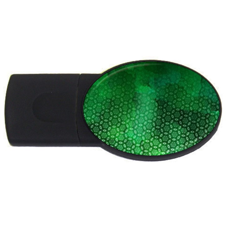 Ombre Green Abstract Forest USB Flash Drive Oval (4 GB)