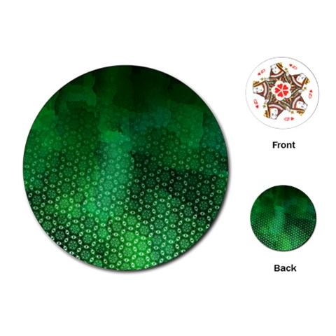 Ombre Green Abstract Forest Playing Cards (Round)