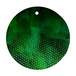 Ombre Green Abstract Forest Round Ornament (Two Sides)  Back