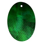 Ombre Green Abstract Forest Oval Ornament (Two Sides) Front