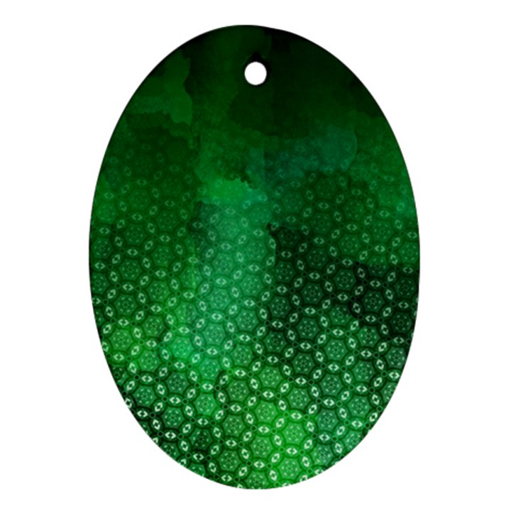 Ombre Green Abstract Forest Oval Ornament (Two Sides)