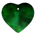 Ombre Green Abstract Forest Heart Ornament (2 Sides) Front