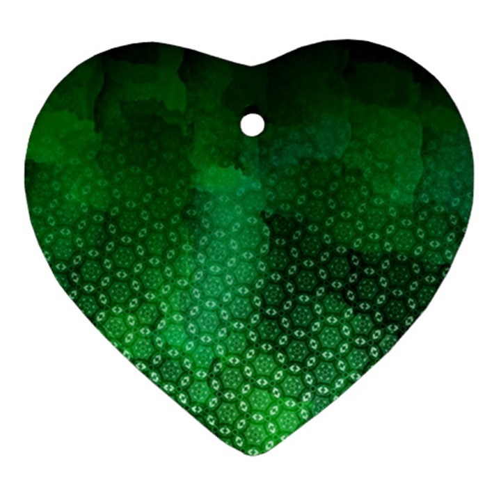 Ombre Green Abstract Forest Heart Ornament (2 Sides)