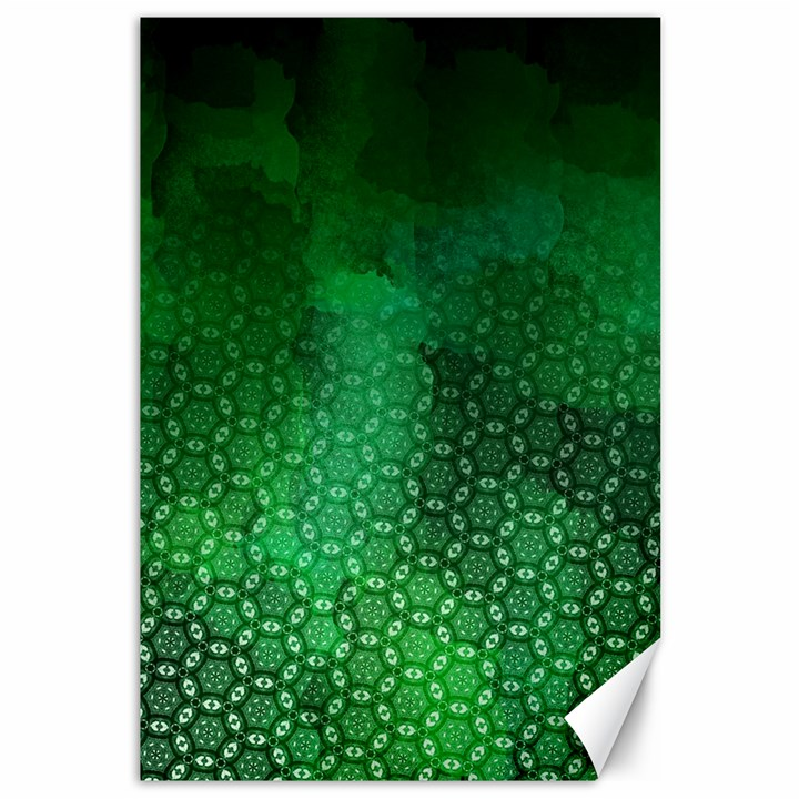 Ombre Green Abstract Forest Canvas 12  x 18