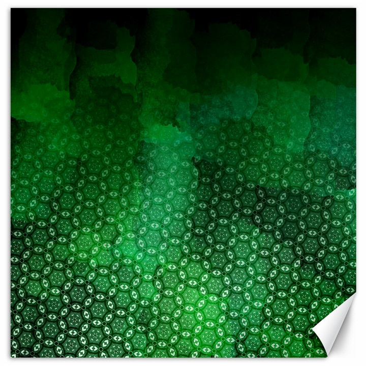 Ombre Green Abstract Forest Canvas 20  x 20