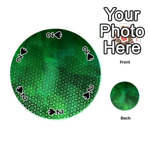Ombre Green Abstract Forest Playing Cards 54 (Round)