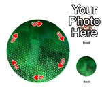 Ombre Green Abstract Forest Playing Cards 54 (Round)  Front - Heart6