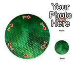 Ombre Green Abstract Forest Playing Cards 54 (Round)  Front - Diamond7